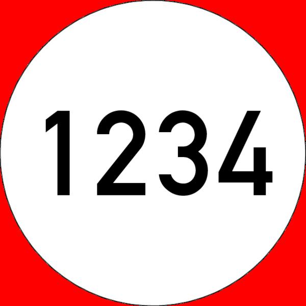 Brandmelderronde 40 mm weiss-schwarz, Nummer, selbstklebend