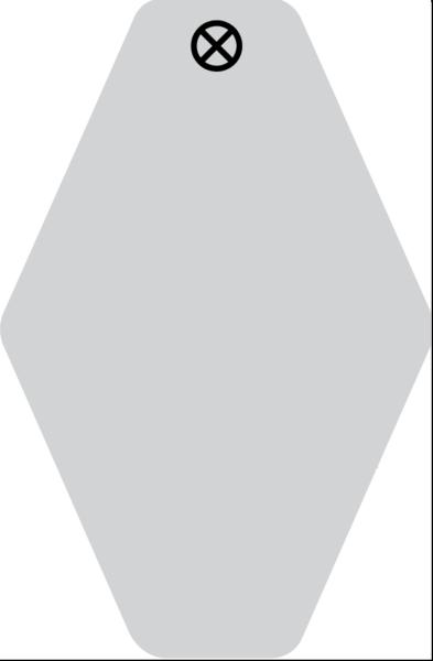 Schüsselanhänger Rautenform 38x58x1,5mm, Kunststoff grau, Loch 4,0mm, blanko