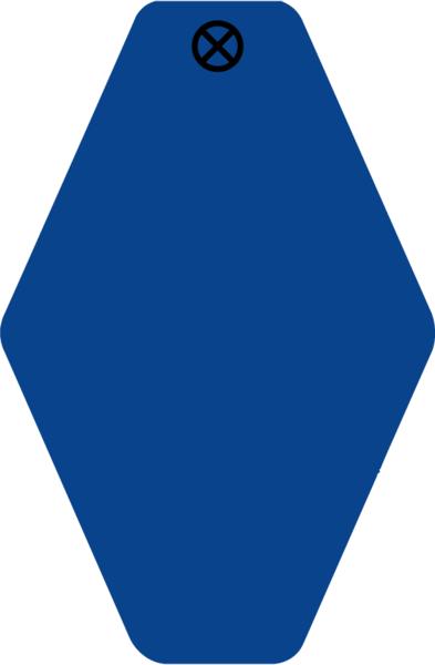 Schlüsselanhänger Rautenform 38x58x1,5mm, Kunststoff blau, Loch 4,0mm, blanko