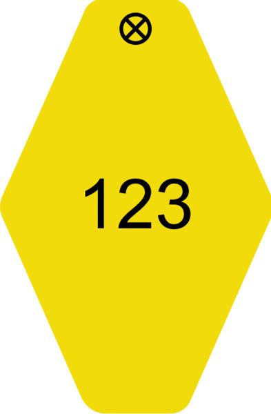 Schlüsselanhänger Rautenform 38x58x1,5mm, Kunststoff gelb, Loch 4,0mm, Gravur Ziffern