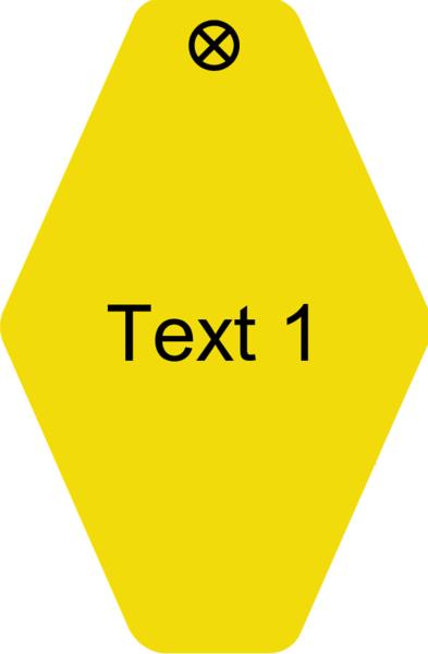 Schlüsselanhänger Rautenform 38x58x1,5mm, Kunststoff gelb, Loch 4,0mm, Gravur Text