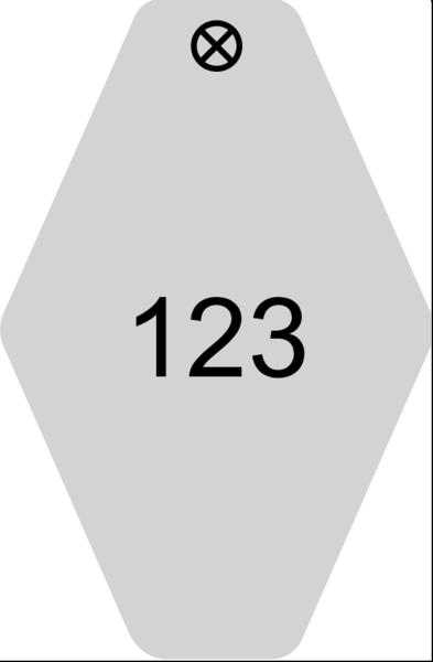 Schlüsselanhänger Rautenform 38x58x1,5mm, Kunststoff grau, Loch 4,0mm, Gravur Ziffern