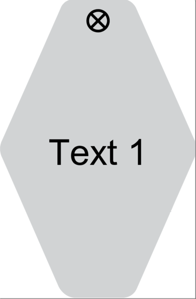 Schlüsselanhänger Rautenform 38x58x1,5mm, Kunststoff grau, Loch 4,0mm, Gravur Text