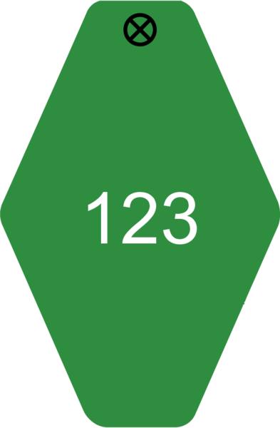 Schlüsselanhänger Rautenform 38x58x1,5mm, Kunststoff grün, Loch 4,0mm, Gravur Ziffern