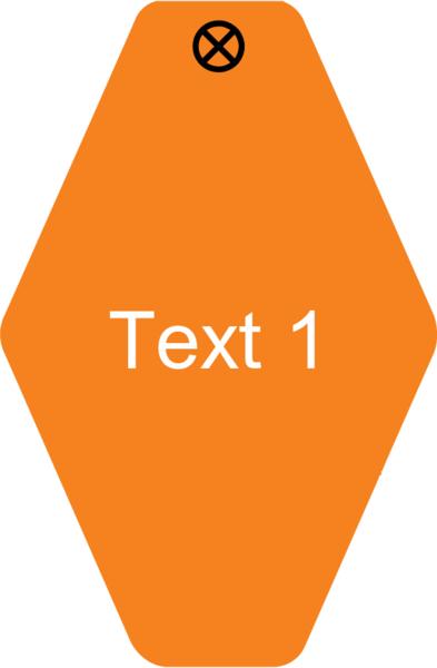 Schlüsselanhänger Rautenform 38x58x1,5mm, Kunststoff orange, Loch 4,0mm, Gravur Text