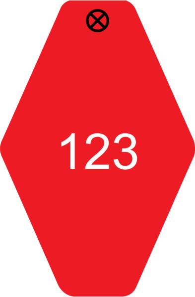 Schlüsselanhänger Rautenform 38x58x1,5mm, Kunststoff rot, Loch 4,0mm, Gravur Ziffern