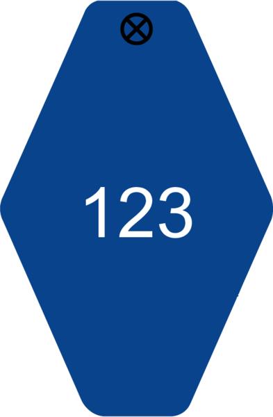 Schlüsselanhänger Rautenform 38x58x1,5mm, Kunststoff blau, Loch 4,0mm, Gravur Ziffern