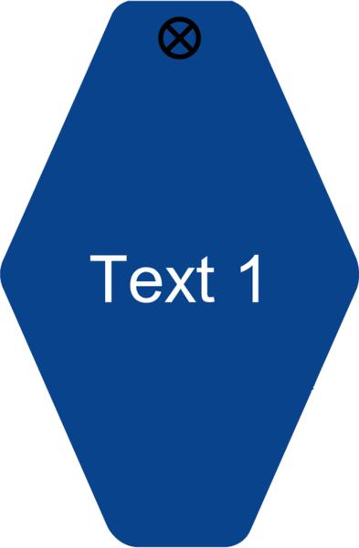 Schlüsselanhänger Rautenform 38x58x1,5mm, Kunststoff blau, Loch 4,0mm, Gravur Text