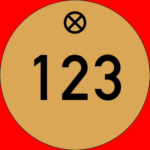 Werkzeugmarke rund 30mm, Aluminium Gold matt, Loch 4,0mm mit Gravur Zahl bis 3-stellig schwarz ausgelegt