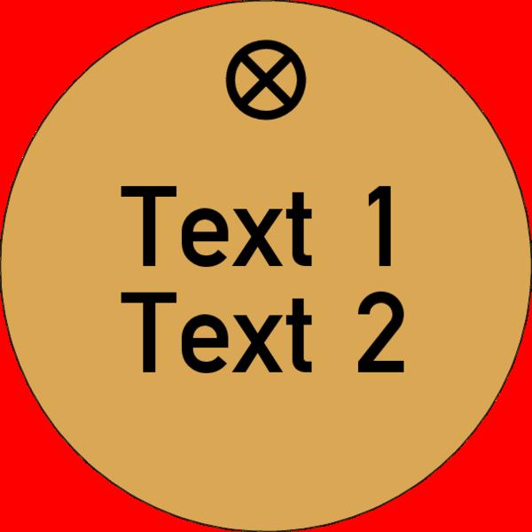 Werkzeugmarke rund 30mm, Aluminium Gold matt, Loch 4,0mm mit Gravur Text 2-zeilig schwarz ausgelegt