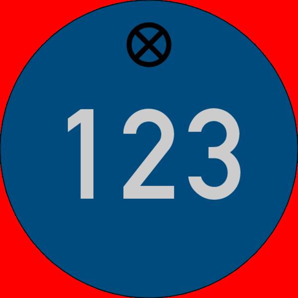Werkzeugmarke rund 30mm, Aluminium blau matt, Loch 4,0mm mit Gravur Zahl bis 3-stellig